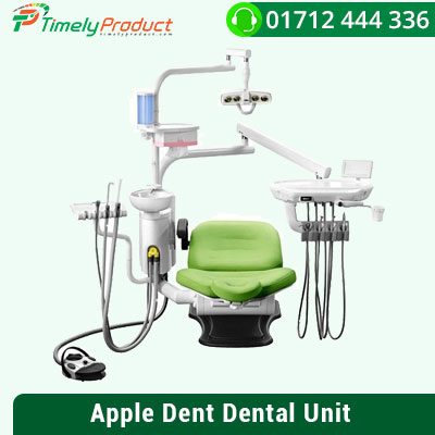 Apple Dent Dental Unit Features: Dual tray 2 pieces sucker (air + water) 2 piece 3-way syringes Glass type patient tray Tissue box Censor & manual system LED light Extra tray cover Extra unit cover 3 side operating system Hydraulic doctor's tool Warranty in Years: 3 (all parts)