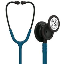 3M Littmann Stethoscope Classic – III Monitoring Stethoscope, Black Finish Chestpiece, Stem & headset, Caribbean Blue Tube, 27 inches, 5869