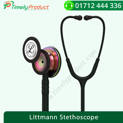 3M Littmann Stethoscope Classic – III Rainbow-Finish Chestpiece, Black Stem and headset, Black Tube, 5870